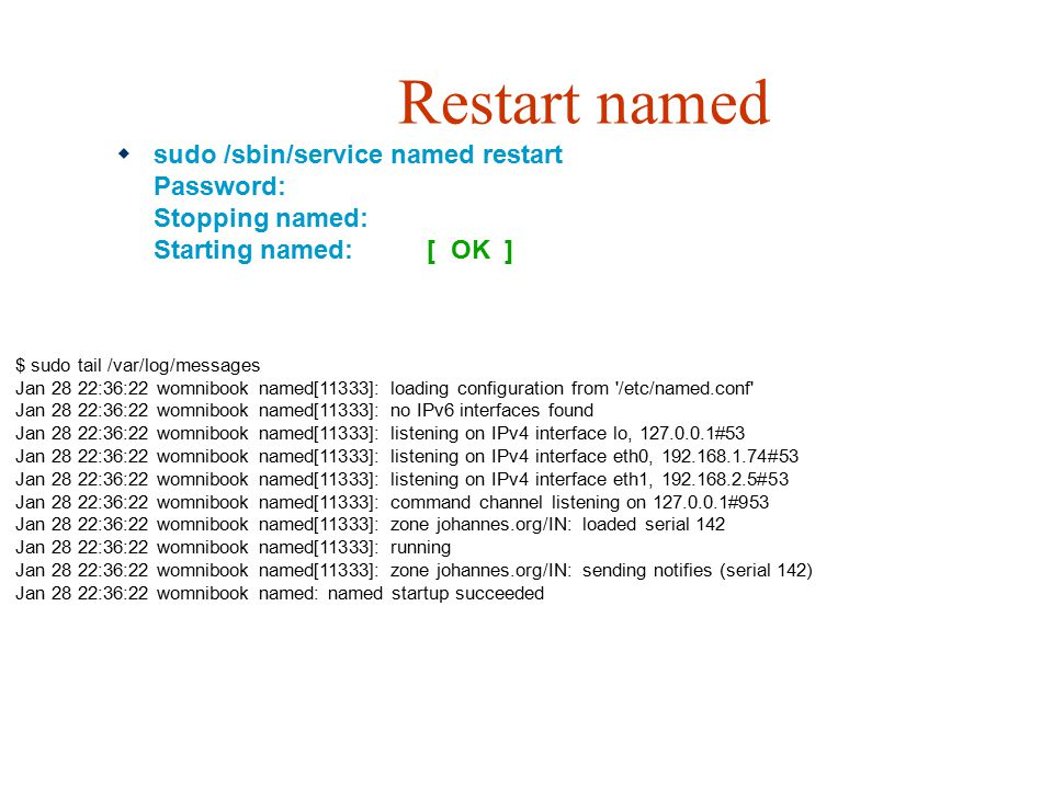Restart named sudo /sbin/service named restart Password: Stopping named: Starting named: [ OK ]